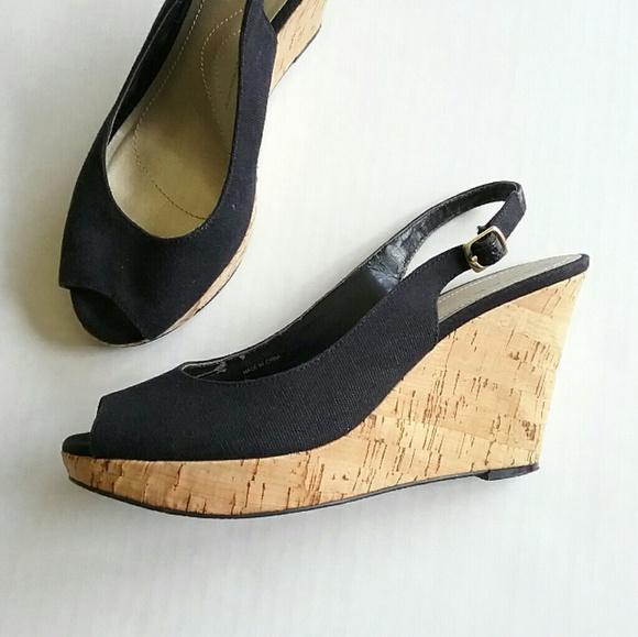 Tahari Shoes - Tahari Black Wedge Open Toe Slingback Heel Sandals